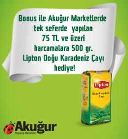 Bonus ile Akuğur Marketlerde tek seferde yapılan 75 TL ve üzeri harcamalara 500 gr. Lipton Doğu Karadeniz Çayı hediye!