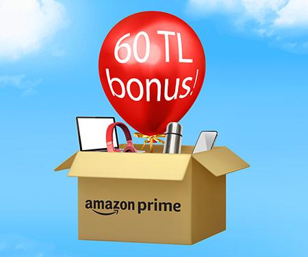 Amazon.com.tr'de tek seferde ilk 300 TL ve üzeri alışverişinize 60 TL bonus!