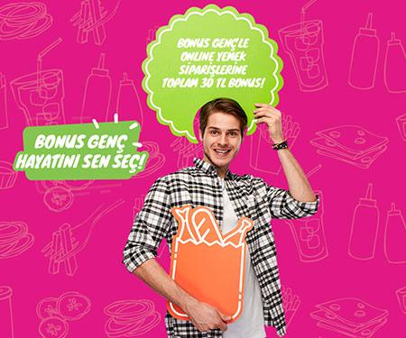 Bonus Genç'le online yemek siparişlerine toplam 30 TL bonus!