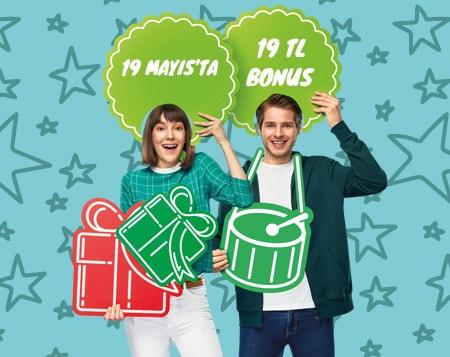 19 Mayıs'ta Bonus Genç'iyle harcayana 19 TL bonus!