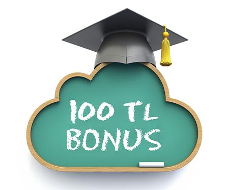 20.000 TL ve üzeri eğitim harcamanıza <br> 100 TL bonus!