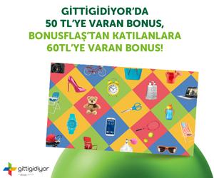 Gittigidiyor'da Bonus'a Özel Alışverişinize 60 TL'ye Varan Bonus!