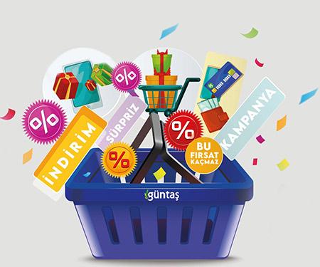 Güntaş AVM'de 100 TL ve üzeri alışverişlerinize %10 Güntaş bonus!