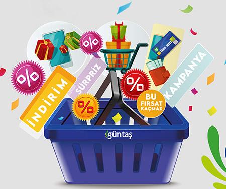 Güntaş AVM'de 100 TL ve üzeri alışverişlerinize %10 Güntaş bonus