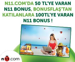 N11.com'da 50 TL'ye varan n11 BONUS