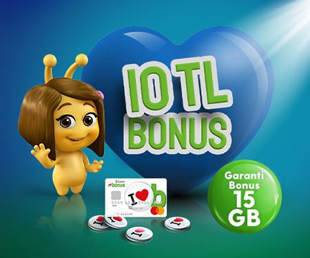 Turkcell.com.tr'de Garanti Bonus 15GB Paketine 10 TL bonus!